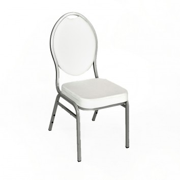 Location chaise simili blanc armature argent